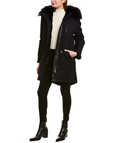 31IL0Ig5guL Guaranteed for Valentine's Day About the brand: Elevated outerwear. Unique functionality. Rena X Leather-Trim Parka in navy with hooded back, removable fur trim, fur lining, zippered left chest pocket, four front pockets, inner knit cuffs, zippered interior pockets, drawcord at waist, and