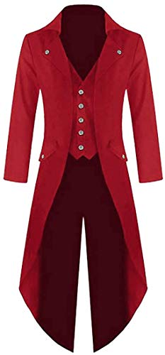 Mens Steampunk Victorian Jacket Gothic Tailcoat Costume Vintage Tuxedo Viking Renaissance Pirate Halloween Coats - Red - X-Large (Apparel)