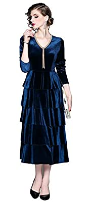 V neckline,Long sleeves or 3/4 Sleeves Midi/maxi length,hidden back/side zip closure Retro Elegant Style,Suit for Evening,Cocktail,Wedding Party and Formal Occasion Garment Care:Hand wash,Package Includes:1 x Dress The tag size is Asian Size,please r...