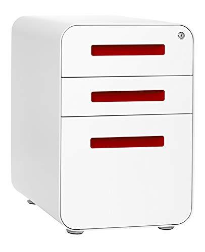 Stockpile 3-Drawer File Cabinet, Commercial-Grade (White/Red)
