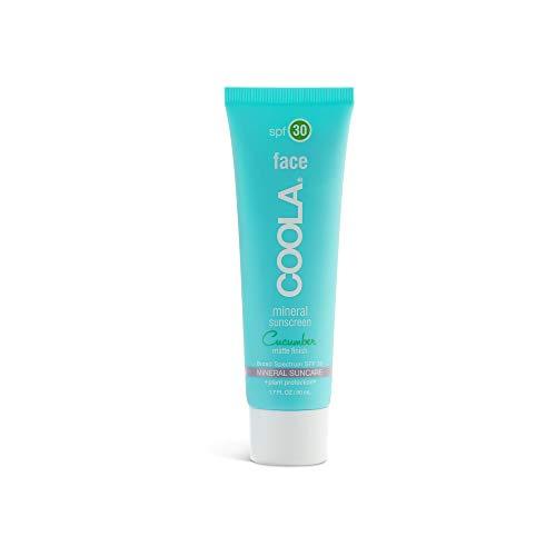 COOLA Organic Mineral Face Matte Tint Sunscreen, SPF 30, Reef-Safe, Cucumber, 1.7 Fl Oz