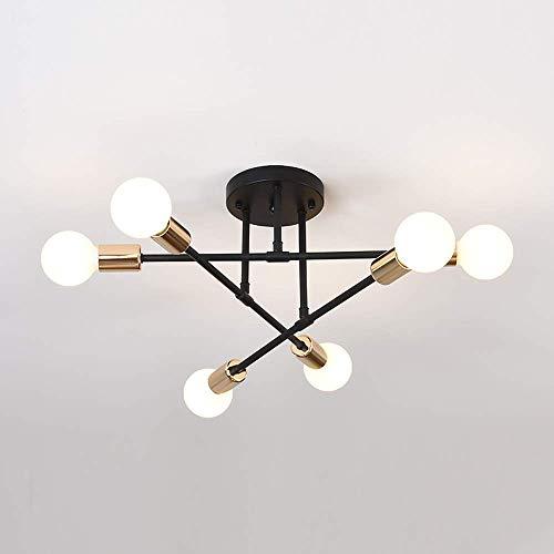 Lampadario da Soffitto Vintage, E27 Plafoniera LED Soffitto Moderna, Lampada da Soffitto 6 Luci Sospensione Industriale per Soggiorno Camera da Letto Loft Cucina