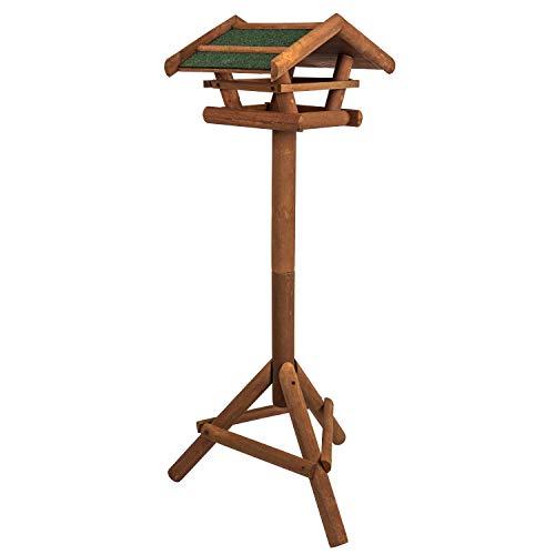 Vogelhaus aus Holz inkl. Ständer ca. 42x23x30cm |Vogelhäuschen für Vogelfutter - Futterhaus/Vogelfutterstation - Schutz gegen Schnee & Regen | Futterstation, Futterstelle, Vogelfutterhaus