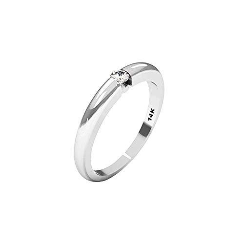 QUIMERA JEWELRY ND Anillo Solitario Oro Blanco 14kt con Diamante 0,11ct | Anillo Compromiso Oro Blanco y Diamante, Talla 17