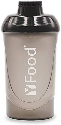 YFood Shaker   Eiweiß Shaker mit erstklassiger Mischfunktion   mit Infusion Sieb   Hochwertiger Protein-Shake Becher   Schwarz   600ml