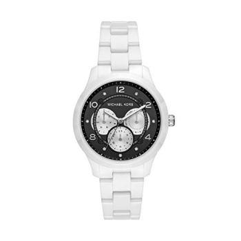 Michael Kors Women's Runway Stainless Steel Quartz Watch with Ceramic Strap, White, 18 (Model: MK6630)