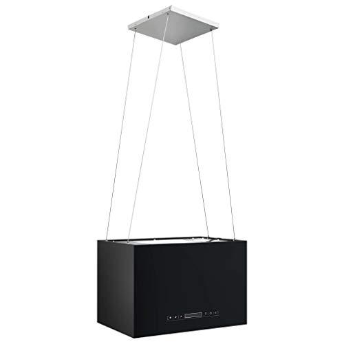 Tidyard Cappa da Cucina ad Isola Sospesa LCD con Sensore 55 cm Acciaio Argento/Nero