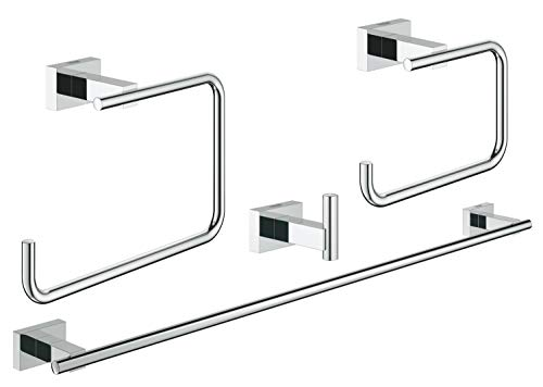 Grohe 40778001 Essentials Cube Master Bathroom Set, 4-In-1, Starlight Chrome