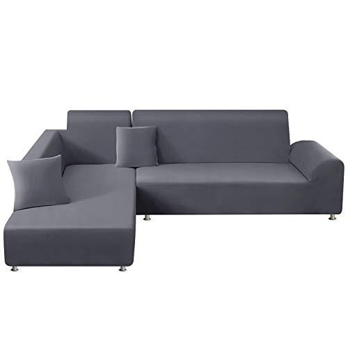 TAOCOCO Copridivano con Penisola Elasticizzato Chaise Longue Sofa Cover Componibile in Poliestere a Forma di L (Grigio Chiaro, 3 Posti+4Posti)