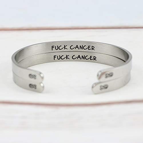 MEMGIFT Cancer Bracelets Survivor Inspirational Motivational Jewelry Gifts for Her Ribbon Engraved Cancer Mantra Cuff