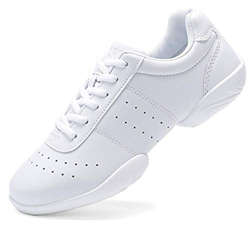 DADAWEN Adult & Youth White Cheerleading Shoes Sport Training Tennis Sneakers Competition Cheer Shoes White US Size 7/EU Size 38