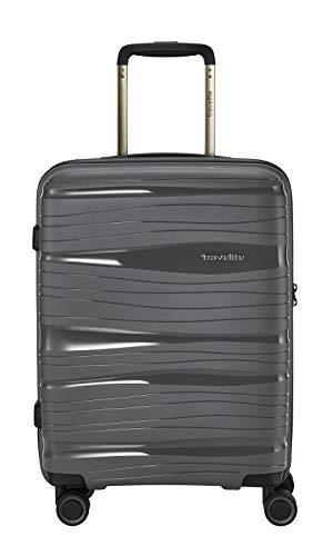 travelite 4-Rad Handgepäck Koffer Hartschale mit TSA Schloss erfüllt IATA-Bordgepäckmaß, Gepäck Serie MOTION: Leichter Hartschalen Trolley im modernen Design, 074947-04, 55 cm, 37 Liter, anthrazit