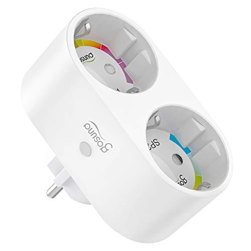 Gosund Doppelstecker für Steckdose, Smart Wlan Steckdose Alexa Stecker Smart Home Plugs funktionieren mit Alexa, Google Home, Stromverbrauch messen Fernbedienung, Timer,Kein Hub erforderlich