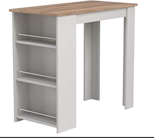 Möbel SD Bartisch Stehtisch Sonoma weiß Massivholzoptik