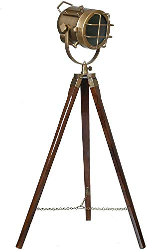 Earth Instruments Brass Antique Mid Sized Spotlight Tripod Lamp (Made in India)