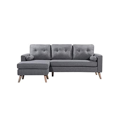 Divano scandinavo in tessuto grigio chiaro VIK