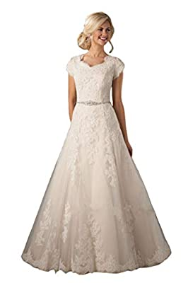 FABRIC: Lace DETAILS:Lace Appliques,Beaded,Cap Sleeves,A-Line,Buttons,Chapel Train,Build in Bra SIZE:This dress made in US2-US16,If the color and size are not what you want, pls contact us via email after you place the order. We can customize it acco...