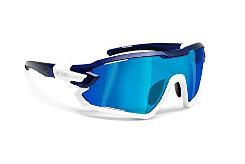 Bertoni Occhiali Ciclismo Running MTB Sci Sport MOD. Quasar (Blu - Bianco/Blu Specchio)