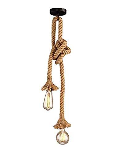 Gdtime Lámpara colgante de estilo industrial vintage, lámpara colgante de doble cabeza de cuerda de cáñamo, para cafeterías, restaurantes, bares, etc. (120CM)