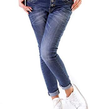 10847 Fashion4young Damen Jeans Röhrenjeans
