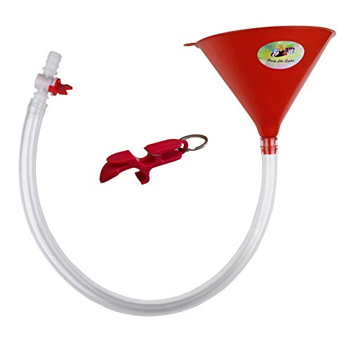 Beer Bong Funnel with Valve - USA Made Extra Long 2.5 feet (30 inch) Kink Free Tube - Shotgun Keychain Tool Bottle Opener - Premium Funnel for Beer Drinking Games, College Parties, Spring Break