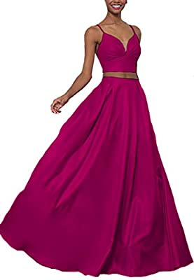 Women's Illusion Deep V-Neck Floor Length Formal Bridesmaid Dress 2019 Free shipping,Criss cross spaghetti straps,2 piece,Ruched top,Side pockets,Built in bra. Suit for:Prom dress plus size,Wedding party dresses for women,Evening gowns petite size,Lo...