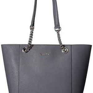 Calvin Klein Hayden Saffiano Leather East/West Top Zip Chain Tote 12