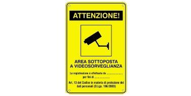 Cod. 67.3750.42 -TARGHE IN ALLUMINIO DI 'AREA VIDEOSORVEGLIATA'