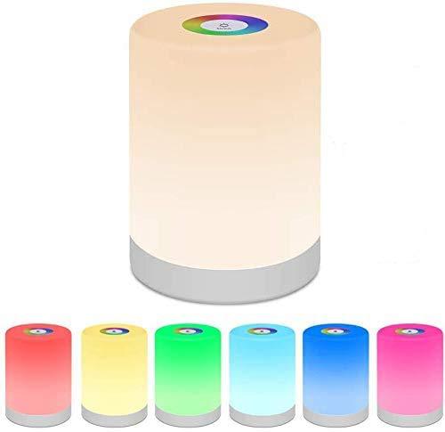 swonuk LED Nachttischlampe Dimmbar Tragbares Nachtlicht mit RGB Farbwechsel Stimmungslicht Schreibtischlampe für Schlafzimmer/Kinderzimmer/ Camping