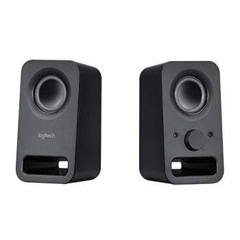 Logitech Z150 Compact Multimedia Stereo Speakers, 3.5mm Audio Input, Integrated Controls, Headphone Jack, UK Plug, Computer/Smartphone/Tablet/Music Player - Midnight Black