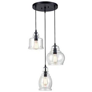CLAXY Ecopower Vintage Kitchen Linear Island Glass Chandelier Pendant Lighting Fixture-3 Lights