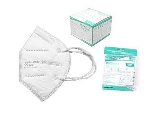 Mascherine FFP2 / KN95 WottoCare, Maschera di Protezione antiparticolato FFP2 Personale 5 strati. Maschera ad alta efficienza di filtrazione, Box 20 Unità Certificata CE 0598