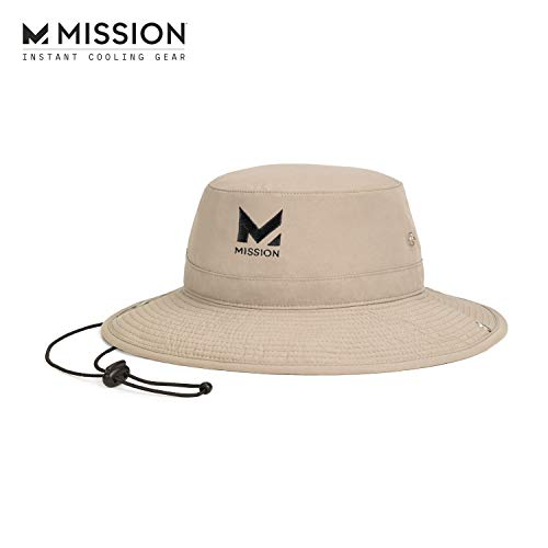 "MISSION Cooling Bucket Hat- UPF 50, 3"" Wide Brim, Cools When Wet- Khaki"