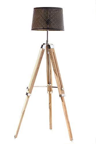 Roorkee Instruments (INDIA) Brass and Wooden Tripod Floor Lamp Stand with Shade and Bulb