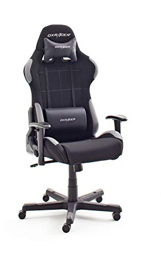 Robas Lund DX Racer 5 Chaise Gaming l'original OH/FD01/NG, Bureau Fauteuil avec mécanisme basculant Chaise Gaming Chaise tournable Chaise PC, Fauteuil ergonomique, noir-gris