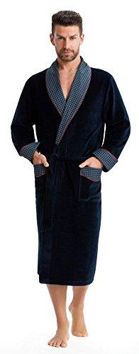 LEVERIE Elegante Vestaglia/Homewear Uomo, Collo Sciallato a Contrasto e Cintura, Blu di Prussia/Rosso, L