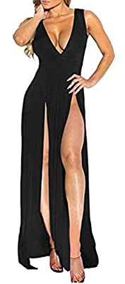 Material: Polyester. Soft and comfy to wear Features: Deep V neck, sleeveless, high slit, double split, floor length, solid color, slim fit, bodycon bandage maxi long dress, sexy party evening dress. Occasions: This plunge V neck split maxi dress is ...