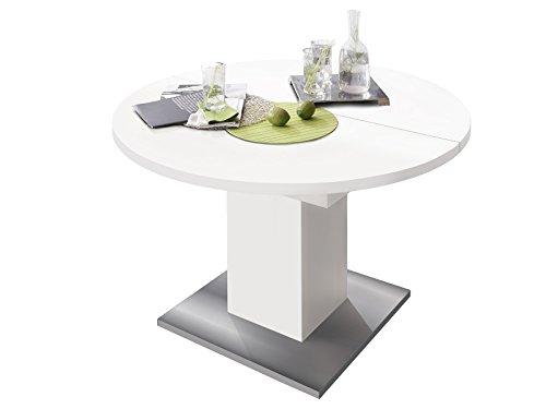 """Esszimmertisch Tisch Esstisch Küchentisch Speisentisch Holztisch \""""Judd II\"""" weiß matt/Edelstahloptik"""