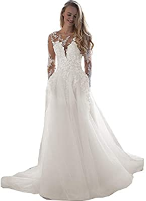 ♥Feature: A-Line Style Appliqued Lace wedding dresses For Women , Lace Appliques boheimian bridal dress , Tulle and Satin Long sleeve wedding gown Fall winter , Floor length, With Built-in bra, beautiful lace flower beaded wedding dresses for womens ...