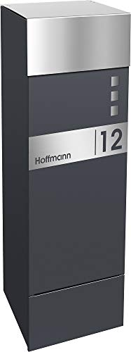Frabox® Design Paketkasten NAMUR anthrazitgrau RAL 7016 / Edelstahl, mit Hausnummer & Namen - 2