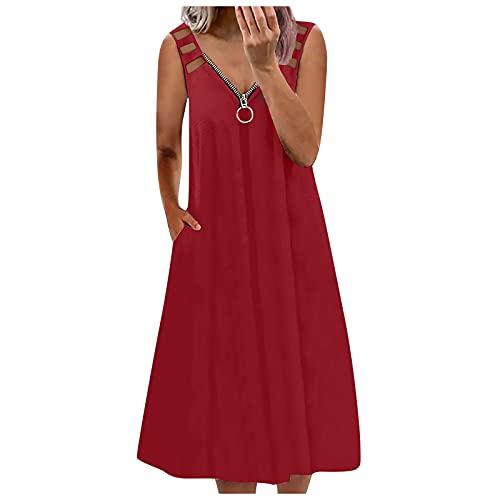 URIBAKY - Vestito da donna con scollo a V, senza maniche, stile casual, con tasche, abito con spalline, abito da spiaggia A rosso M