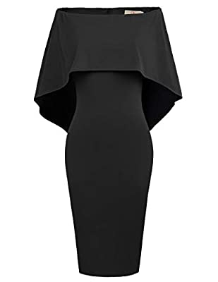 Please Note:This pencil skirt size is small, it is recommended to choose a size larger than the daily size Design:This sexy off shoulder dress has nice cut, and hugs in all the right places to show your figure. This off shoulder Cape Dressis elegant ...