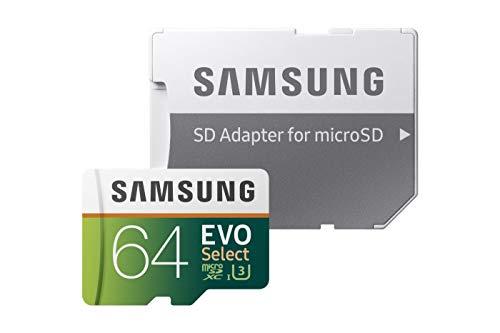 Samsung EVO Select - Tarjeta de Memoria microSDXC de 64 GB con Adaptador SD, 100 MB/s, U3, Color Verde y Blanco