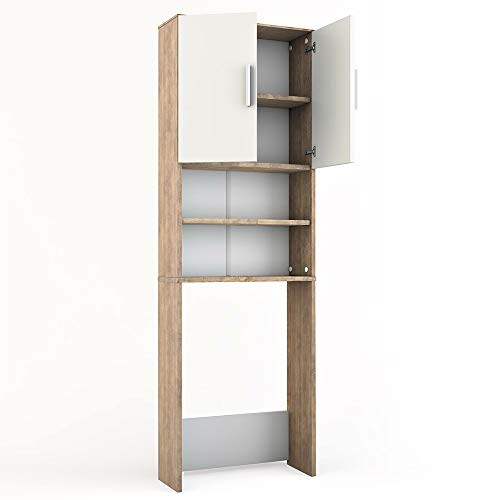 Vicco - Armadio per lavatrice, colore bianco sonoma, 190 x 64 cm, scaffale per il bagno