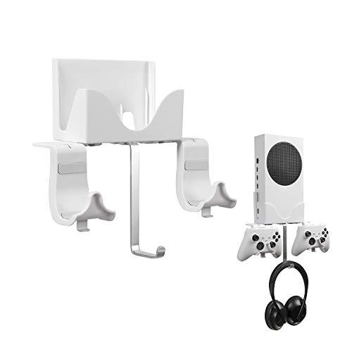 Xbox Series S Wandhalterungs, Hosanwell Halterungs Wand für Xbox Series S Konsole und Controller und Kopfhörer, Halterungs mit Wasserwaage und Rutschfester Matte, Ladekerbe für USB Kabel Erhältlich