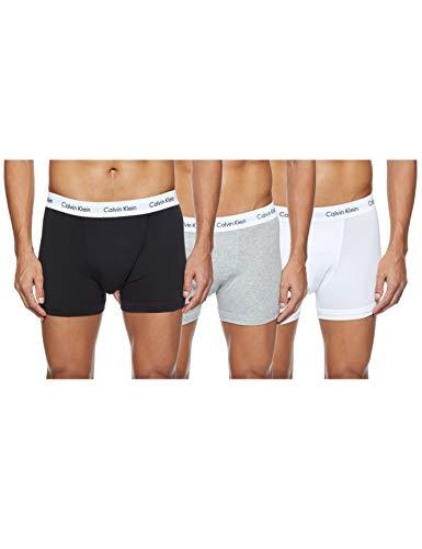 Calvin Klein Hombre - Pack de 3 bóxers de tiro medio - Cotton Stretch, Multicolour (Black/White/Grey Heather), L, (Pack de 3)