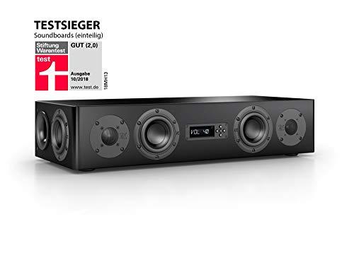 Nubert nuPro AS-250 Soundbar Testsieger | TV-Lautsprecher für Musikgenuss | Soundbase für klare Stimmen | Stereoboard mit 2.5 Wege Technik | aktive Stereobase für Spitzenklang | Sounddeck Schwarz