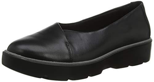 Clarks Un Balsa Go, Mocasines para Mujer, Negro (Black Leather Black Leather), 37.5 EU