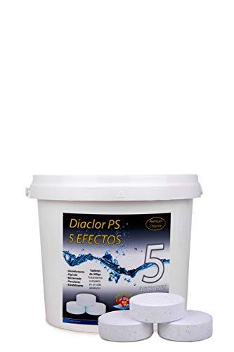 Cloro para Piscinas DIACLOR PS 5 Efectos 5 KG - 25 Pastillas de Cloro Lento (200 gr- 7,5 cm Diámetro) - Tratamiento Completo 5 Acciones