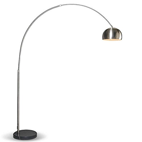 QAZQA Modern Moderne Bogenlampe Stahl/Silber/nickel matt verstellbar - Grande/Innenbeleuchtung/Wohnzimmerlampe Edelstahl/Marmor Rund LED geeignet E27 Max. 1 x 60 Watt